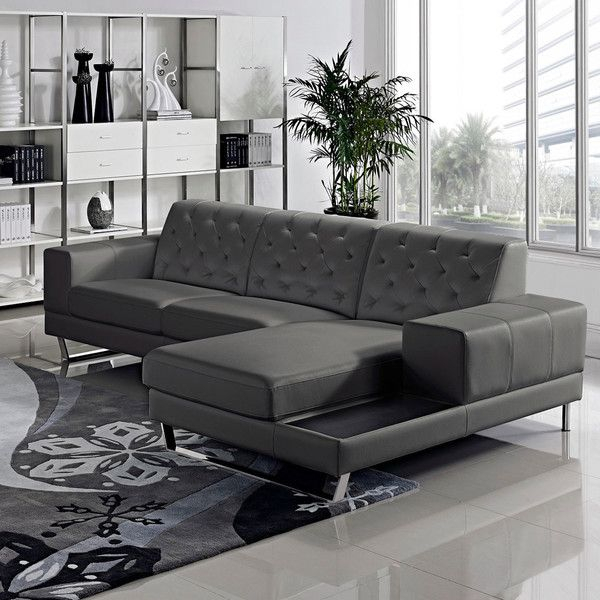 Stella Contemporary Chaise Leather Sectional Sofa Set | 2 For 2Pc Crowningshield Contemporary Chaise Sofas Light Gray (View 12 of 15)