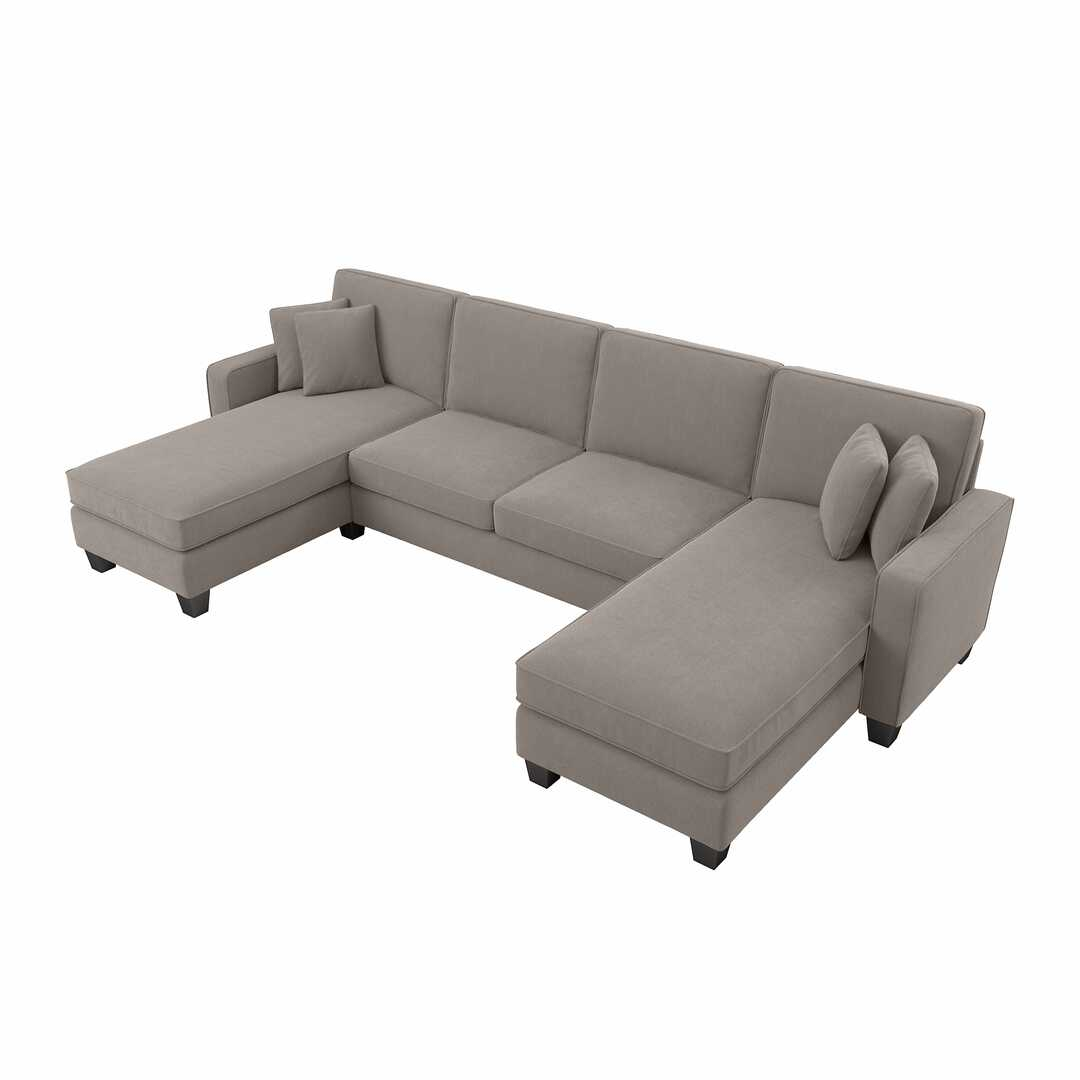 """Stockton 130W Sectional Couch With Double Chaise Lounge Within 130"""" Stockton Sectional Couches With Double Chaise Lounge Herringbone Fabric (View 2 of 15)"""