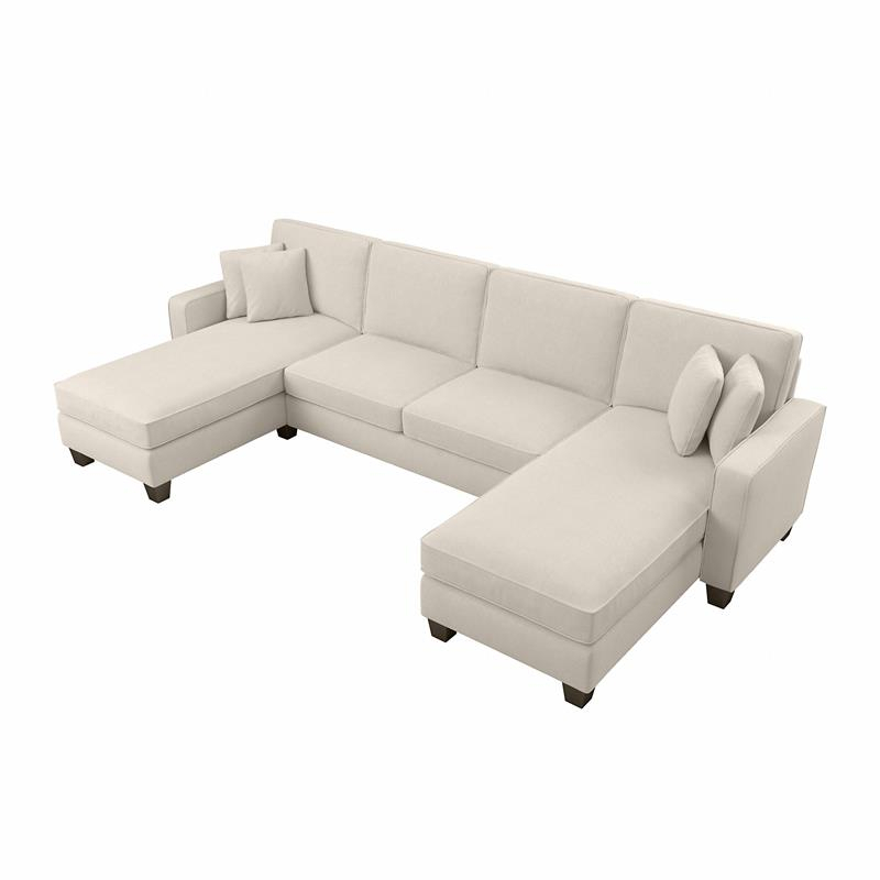 """Stockton 130W Sectional With Double Chaise In Cream Throughout 130"""" Stockton Sectional Couches With Double Chaise Lounge Herringbone Fabric (View 1 of 15)"""