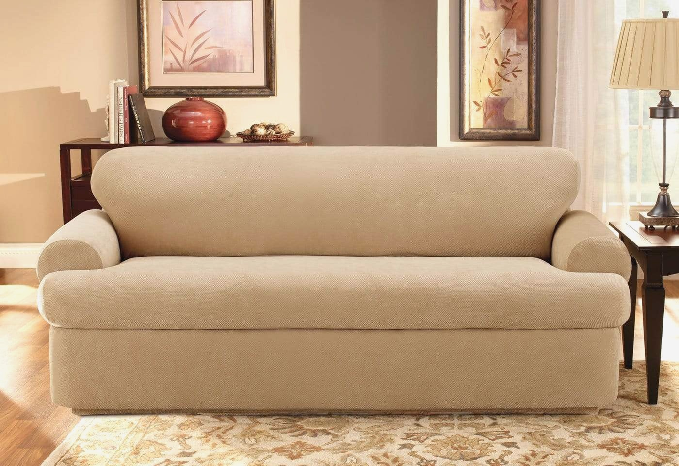 Stretch Pique Three Piece Full Size Sleeper Sofa Slipcover Intended For 3 Piece Sectional Sofa Slipcovers (View 10 of 15)