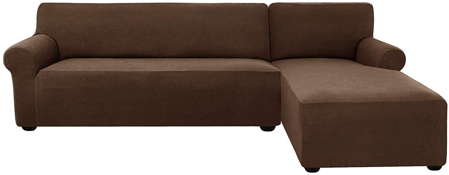 Subrtex Stretch 2 Piece Textured Grid L Shaped Sectional Regarding 3 Piece Sectional Sofa Slipcovers (View 5 of 15)