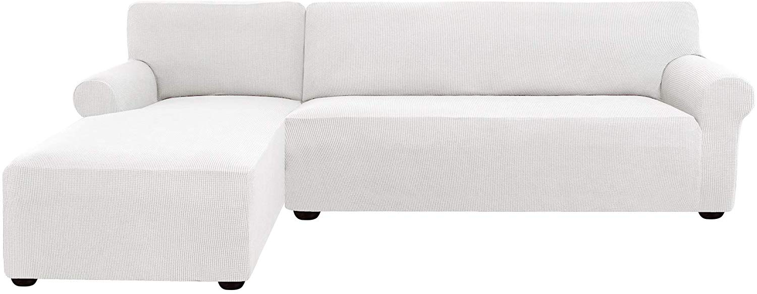 Subrtex Stretch 2 Piece Textured Grid L Shaped Sectional Within 3 Piece Sectional Sofa Slipcovers (View 6 of 15)