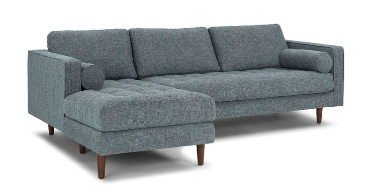 Sven Aqua Tweed Left Sectional Sofa   Sectional Sofa, Mid In Dove Mid Century Sectional Sofas Dark Blue (View 7 of 15)