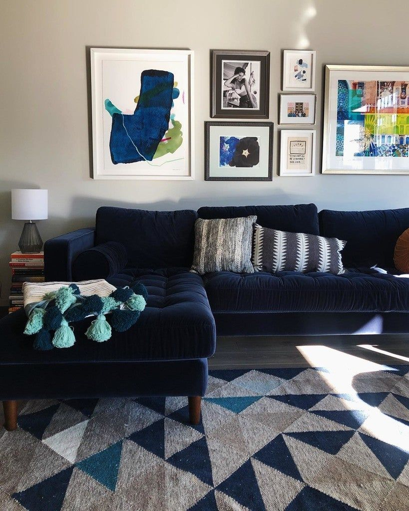 Sven Cascadia Blue Right Sectional Sofa | Sectional Sofa In Somerset Velvet Mid Century Modern Right Sectional Sofas (View 13 of 15)