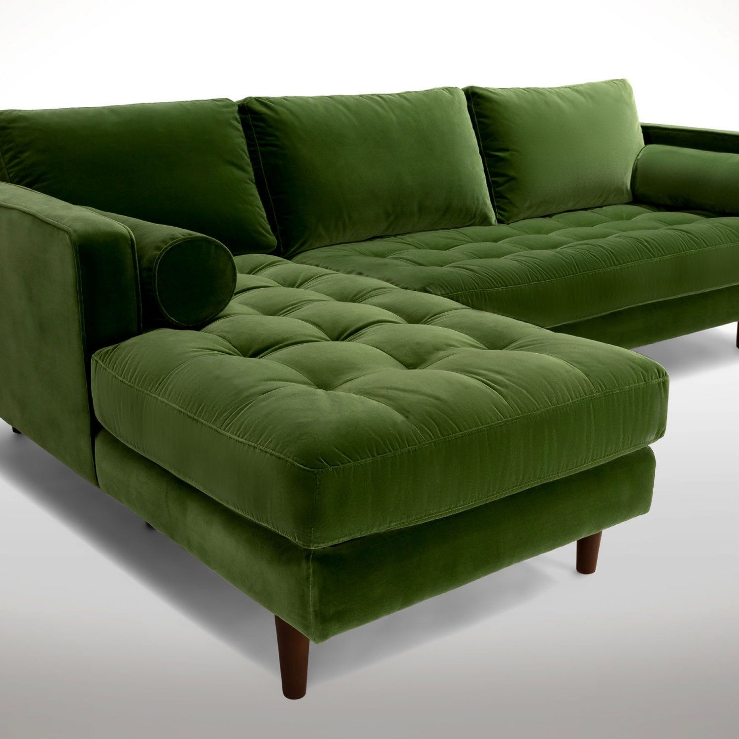 Sven Grass Green Left Sectional Sofa | Sectional Sofa Throughout Dulce Mid Century Chaise Sofas Dark Blue (View 15 of 15)
