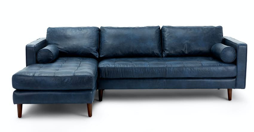 Sven Oxford Blue Right Sectional Sofa In 2020 | Mid Intended For Dulce Mid Century Chaise Sofas Dark Blue (View 9 of 15)