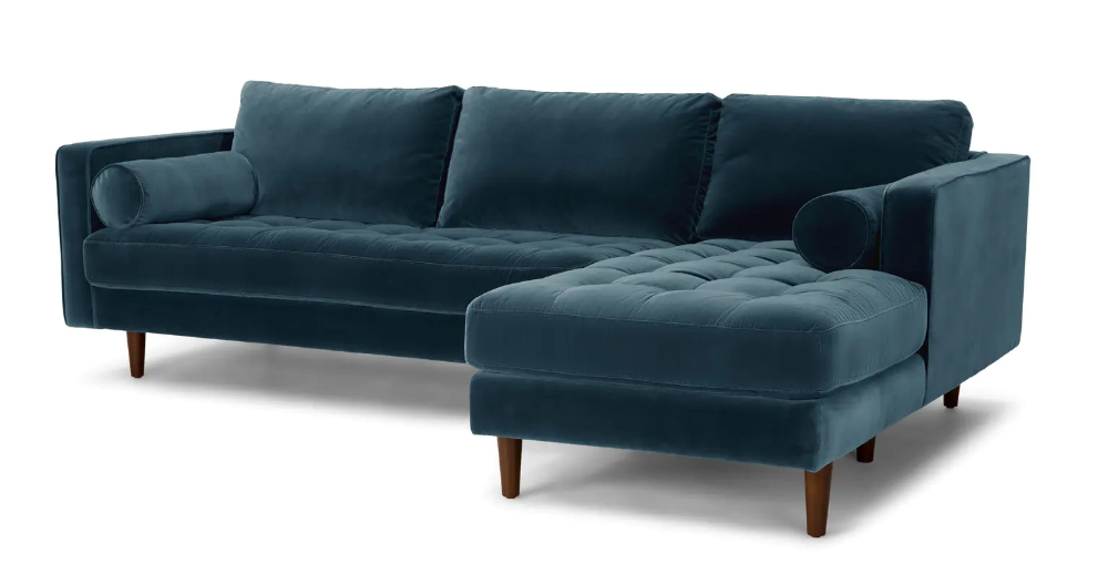 Sven Pacific Blue Right Sectional Sofa | Modern Sofa For Somerset Velvet Mid Century Modern Right Sectional Sofas (View 2 of 15)