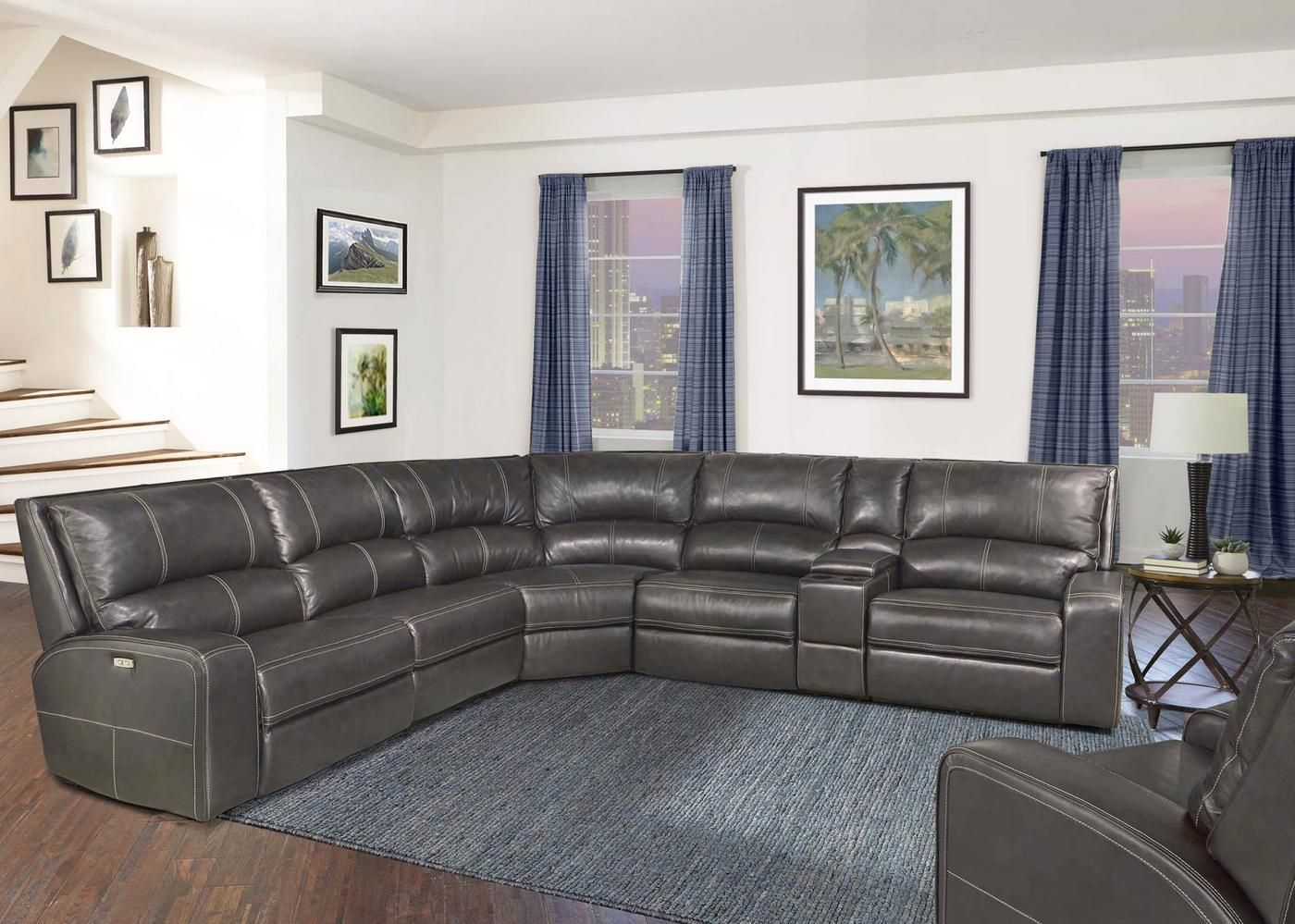 Swift Twilight Modular Leather Sectional Sofa W/ Powered Regarding Armless Sectional Sofas (View 12 of 15)