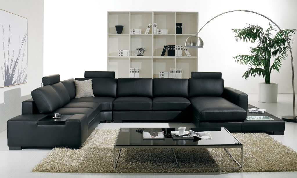 T 35 Large U Shaped Modern Leather Sectional Sofa With Lights For Wynne Contemporary Sectional Sofas Black (View 5 of 15)