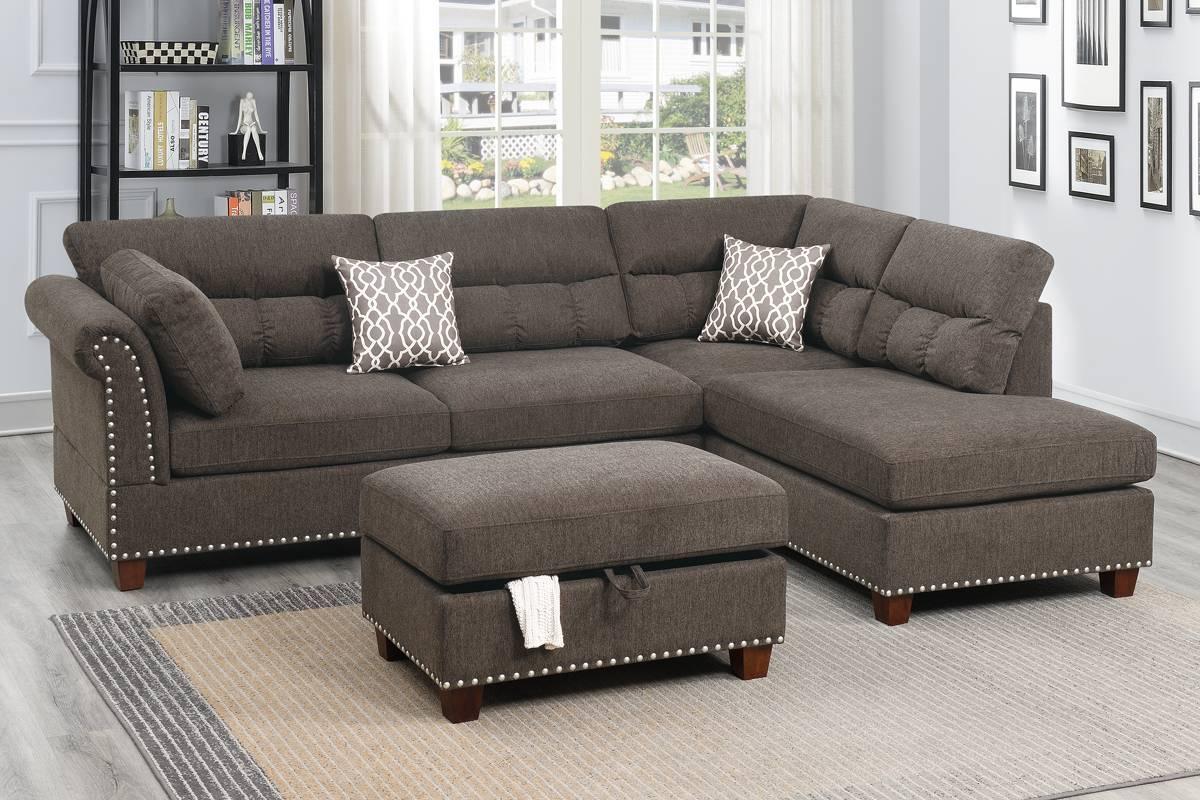 Tan Velvet Finish Sectional Sofa + Ottoman With Strummer Velvet Sectional Sofas (View 6 of 15)