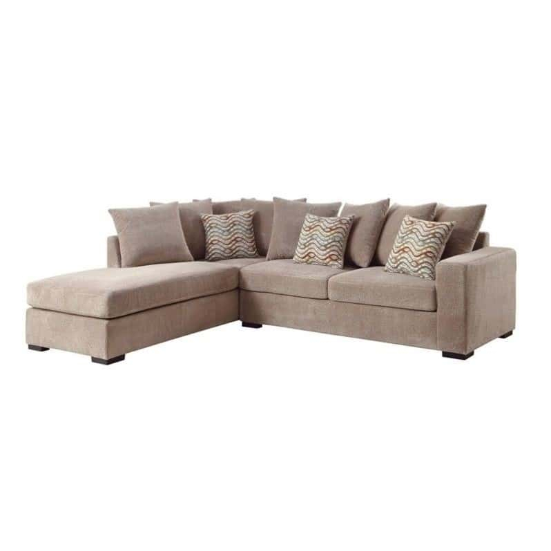 Taupe Chenille Reversible Sectional Sofa With Chaise Within Clifton Reversible Sectional Sofas With Pillows (View 2 of 15)