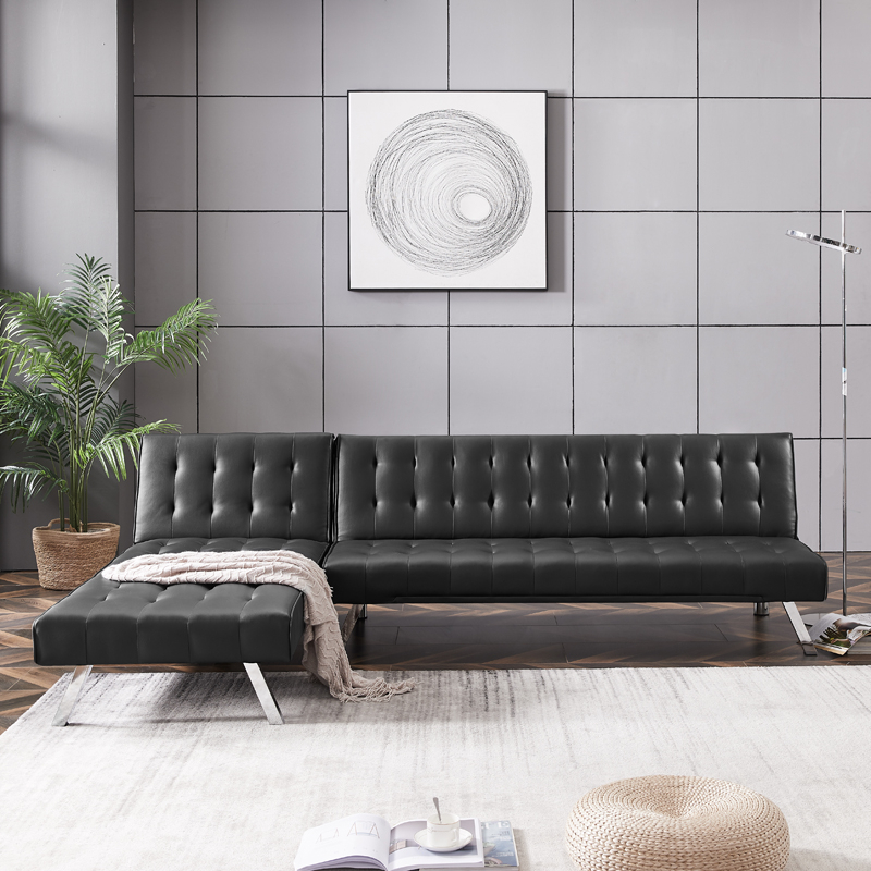 Teamme Sectional Sofa Bed, Pu Faux Leather Tufted Sleeper In Convertible Sectional Sofas (View 14 of 15)
