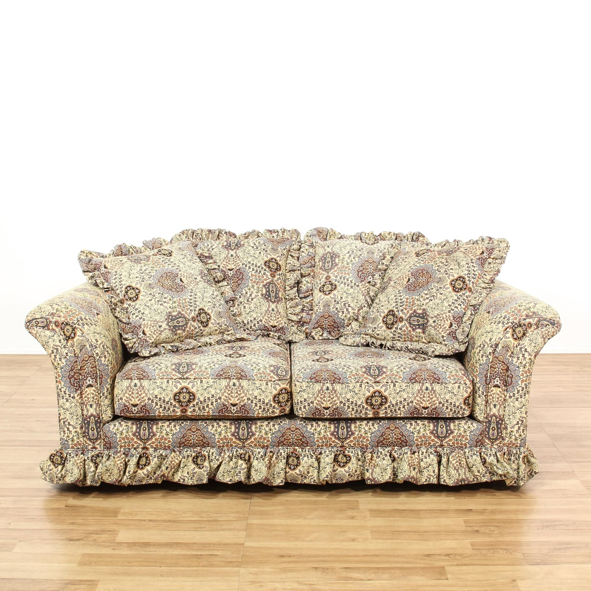 This Loveseat Sofa Is Upholstered In A Durable Beige For Floral Sofas And Chairs (View 7 of 15)