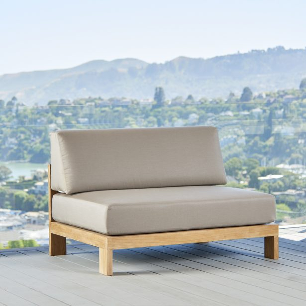 Tiburon Teak Sectional Armless Loveseat – Terra Outdoor Living Pertaining To Armless Sectional Sofas (View 13 of 15)