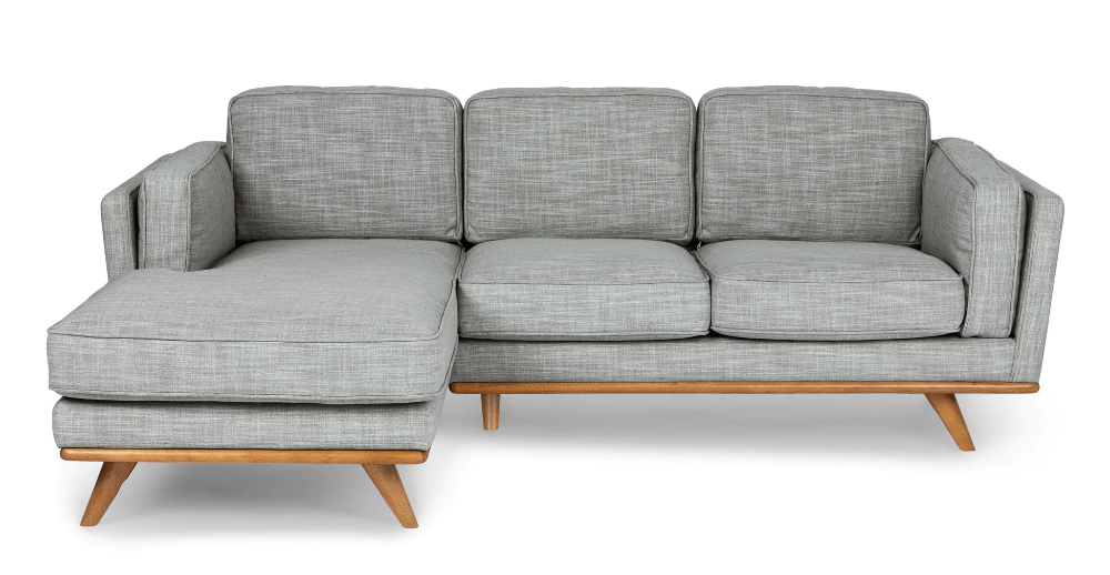 Timber Pebble Gray Left Sectional   Modern Sofa Sectional Within Florence Mid Century Modern Left Sectional Sofas (View 15 of 15)