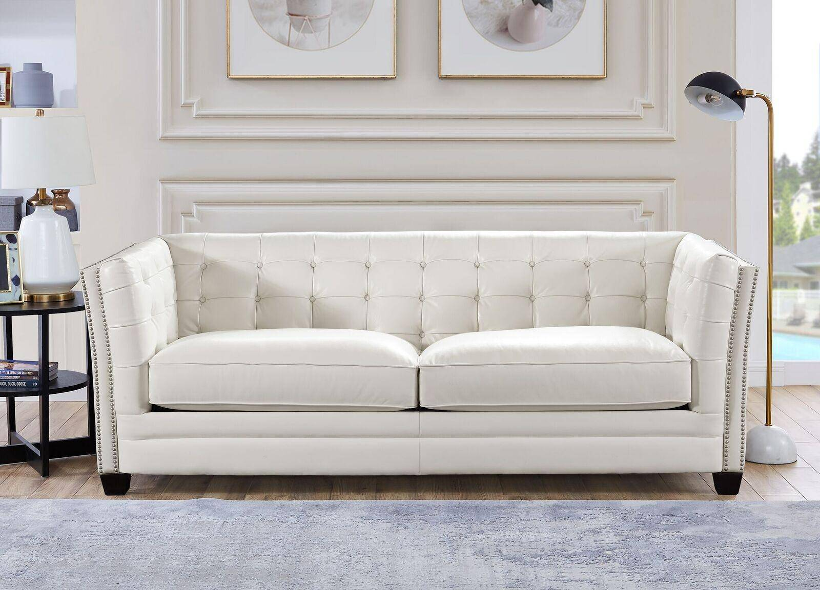 Top Grain Leather White Tufted Sofa Hydeline Cordova Intended For White Sofa Chairs (View 1 of 15)