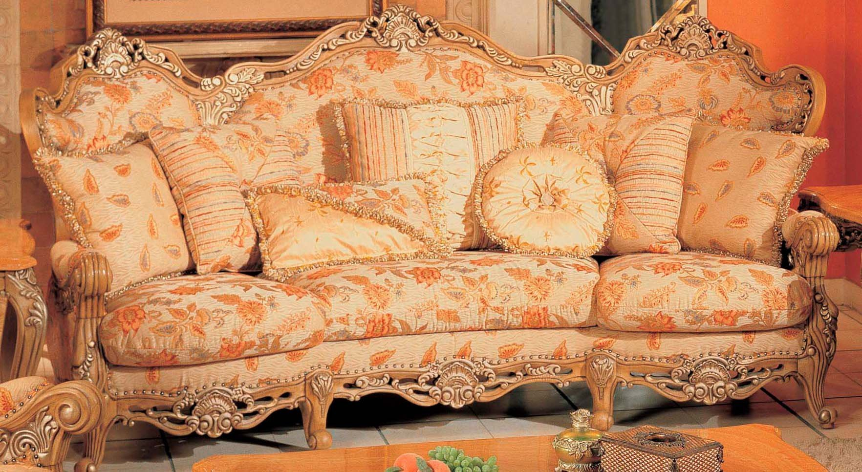 Traditional Peach Floral Print Sofa With Ornate Wood Intended For Floral Sofas And Chairs (View 15 of 15)