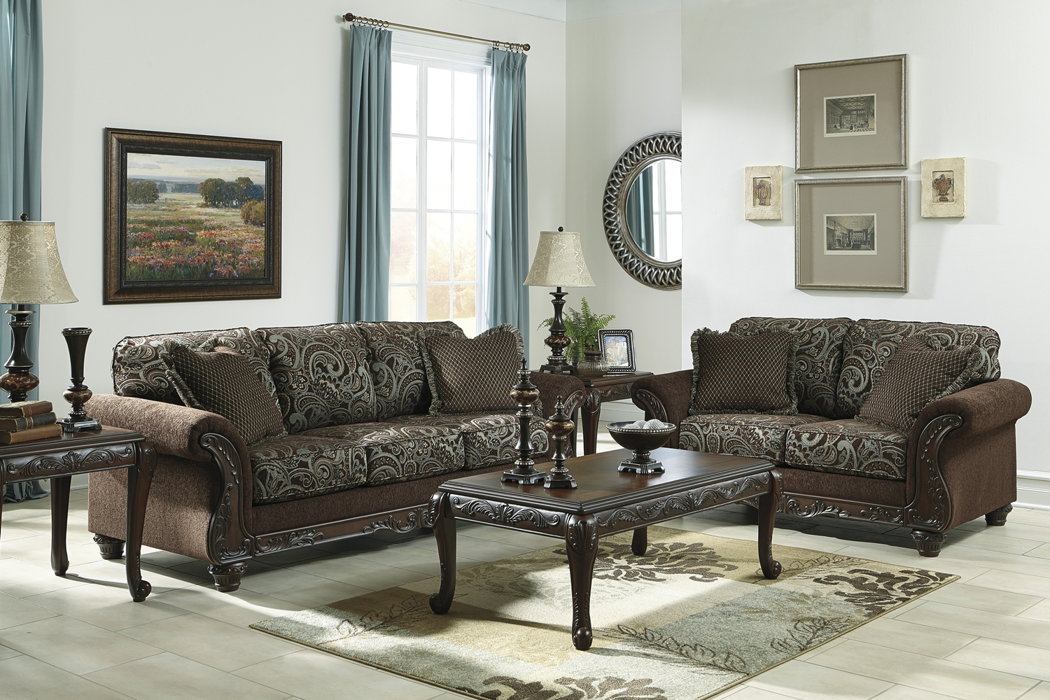 Traditional Style Brown Sofa & Love Seat Living Room Regarding Brown Sofa Chairs (View 15 of 15)
