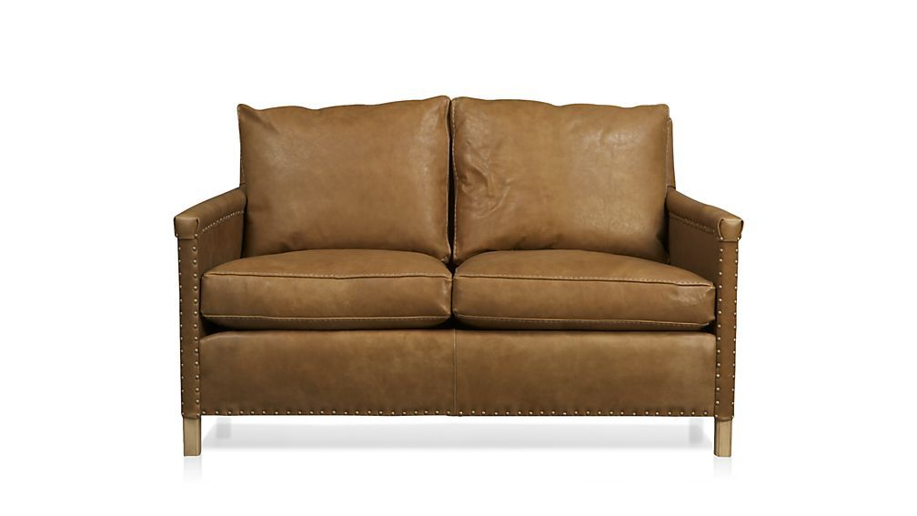 Trevor Brown Leather Loveseat With Nailheads + Reviews Throughout Trevor Sofas (View 3 of 15)