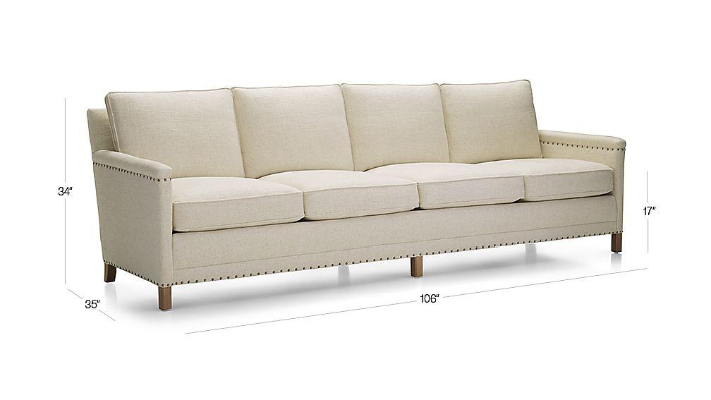 Trevor Oatmeal 4 Seater Sofa + Reviews | Crate And Barrel Regarding Trevor Sofas (View 5 of 15)