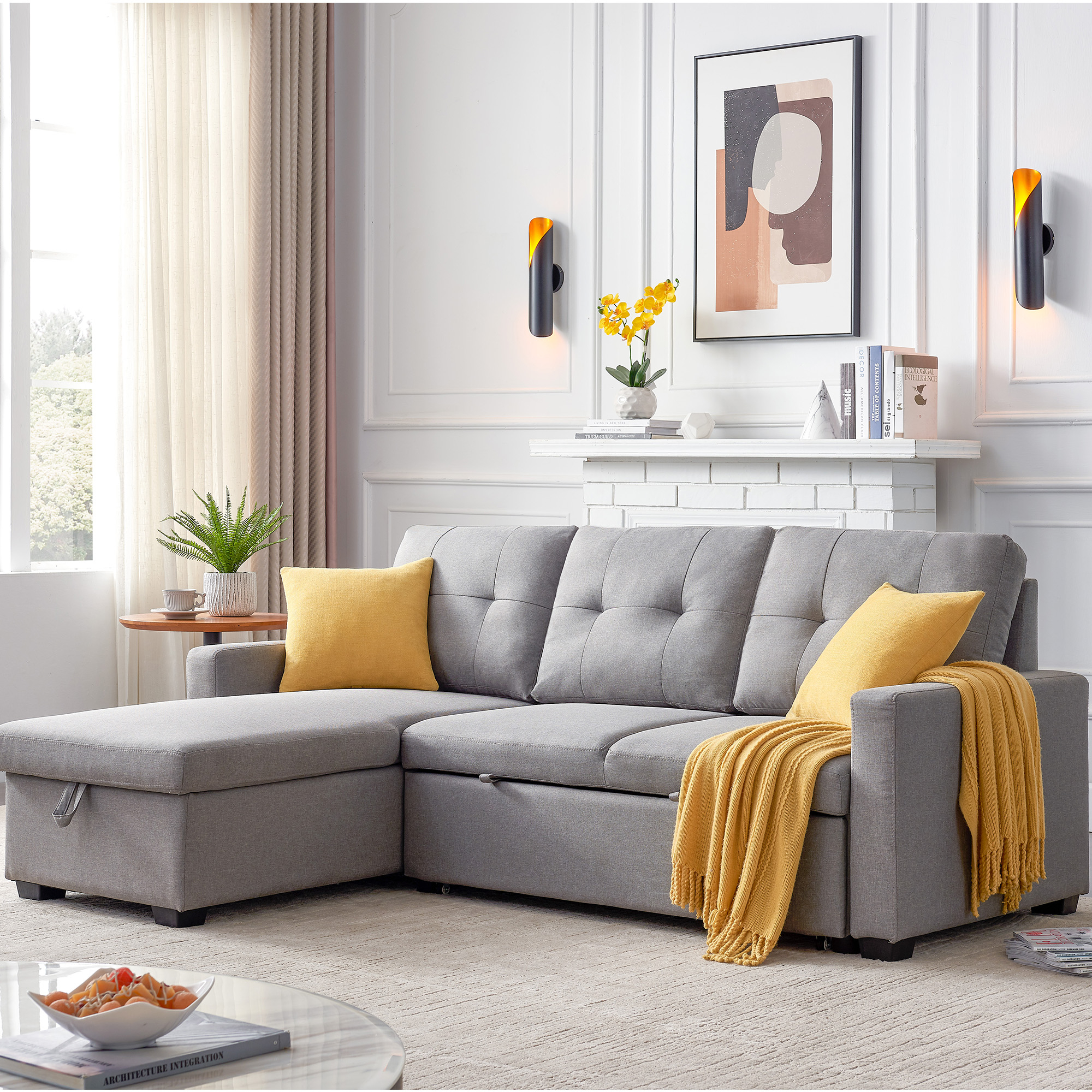 """Tufted 82"""" X 60"""" X 35"""" Modern Sofa Bed With Pull Out Regarding Easton Small Space Sectional Futon Sofas (View 1 of 15)"""