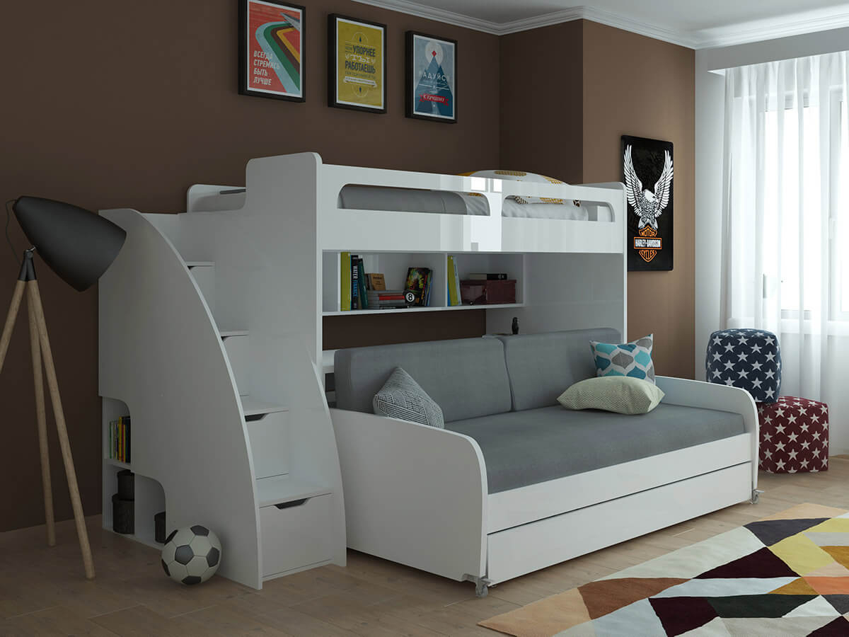 Twin Over Twin Xl Bunk Bed With Sofa, Desk And Trundle Bel With Twin Nancy Sectional Sofa Beds With Storage (View 5 of 15)