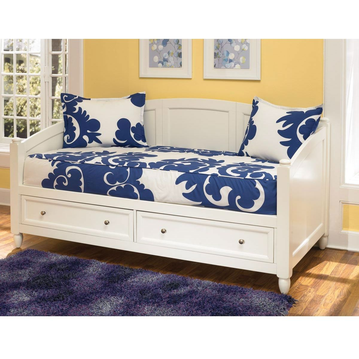 Twin Size Contemporary White Wood Daybed With 2 Storage Regarding Twin Nancy Sectional Sofa Beds With Storage (View 11 of 15)