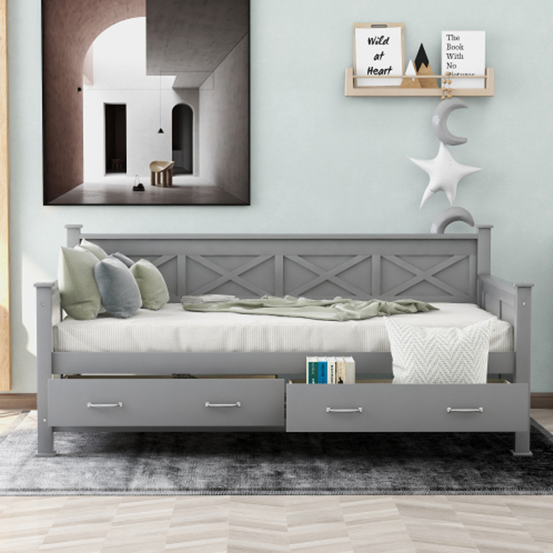 Twin Size Daybed Frame Pinewood Trundle Bed Sofa Withtwo Throughout Twin Nancy Sectional Sofa Beds With Storage (View 6 of 15)