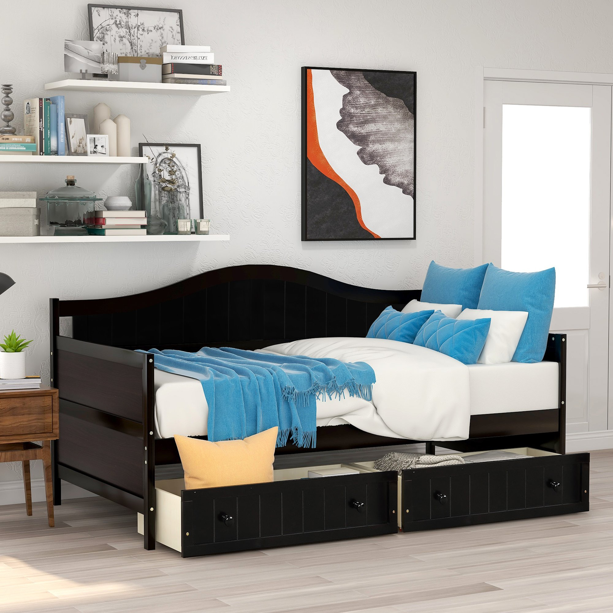 Twin Wooden Daybed With 2 Drawers, Sofa Bed For Bedroom Throughout Twin Nancy Sectional Sofa Beds With Storage (View 2 of 15)