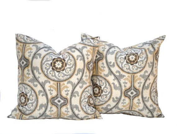 Two Medallion Pillow Covers Home Decor Decorative Pillow Throughout Magnolia Sectional Sofas With Pillows (View 15 of 15)