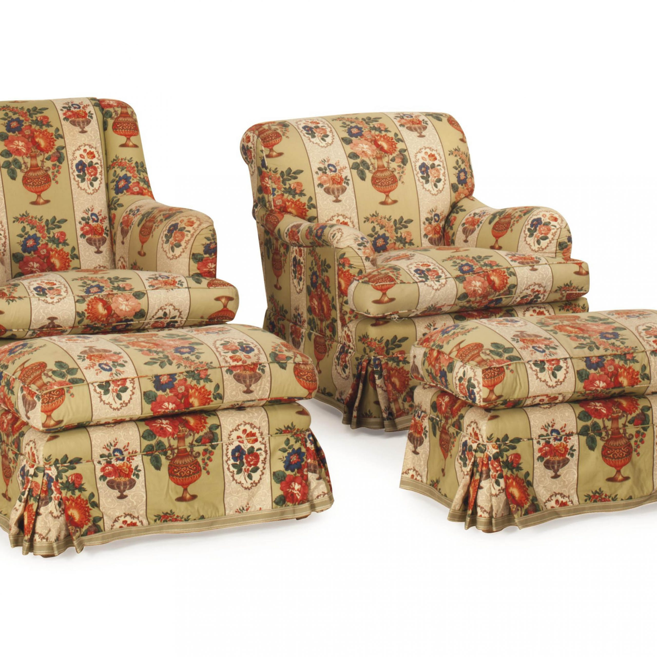 Two Pairs Of Floral Chintz Upholstered Club Chairs And A Throughout Chintz Sofas And Chairs (View 7 of 15)