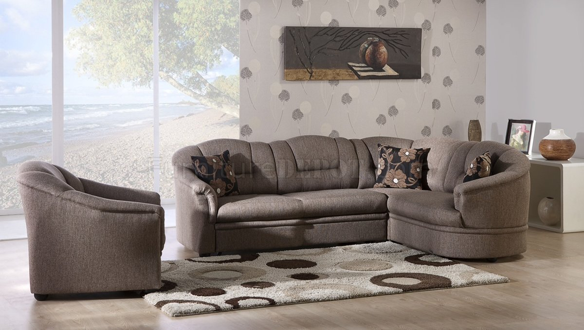 Two Tone Brown Fabric Convertible Sectional Sofa Bed W/Storage Pertaining To Prato Storage Sectional Futon Sofas (View 12 of 15)