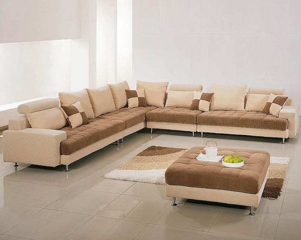 Two Tone Fabric Contemporary Sectional Sofa Set 44Lg60B With Regard To Mireille Modern And Contemporary Fabric Upholstered Sectional Sofas (View 2 of 15)
