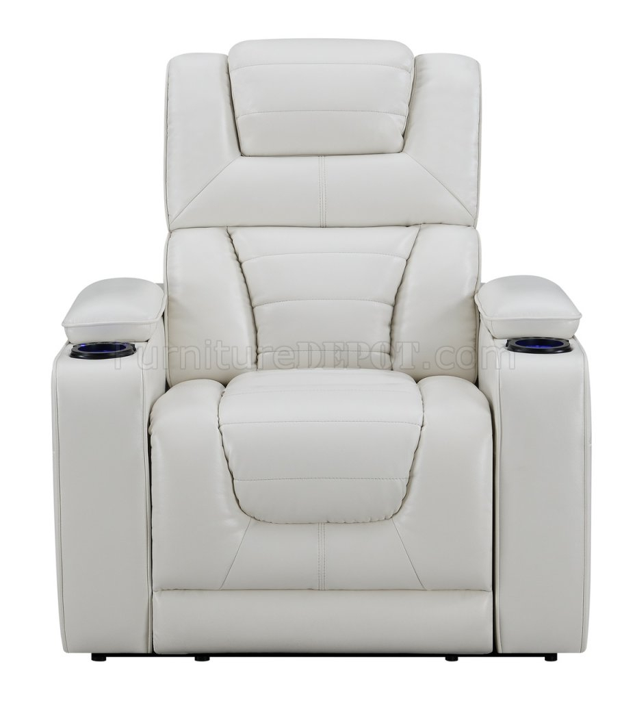 U1877 Power Motion Sofa In White Leather Gelglobal W Pertaining To Walker Gray Power Reclining Sofas (View 8 of 15)