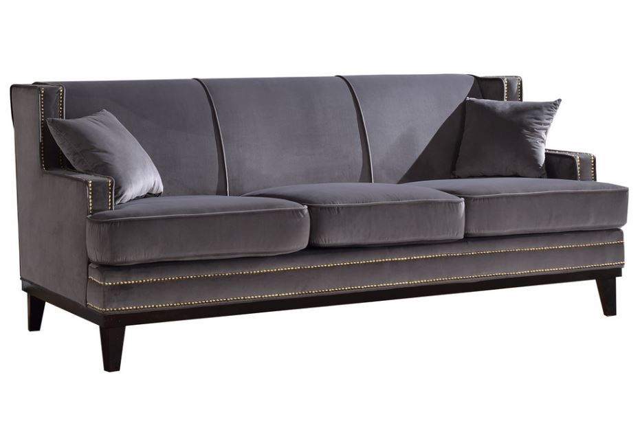 Ugenia Velvet Sofa With Nailhead Trim In Grey From Divano Inside Radcliff Nailhead Trim Sectional Sofas Gray (View 11 of 15)