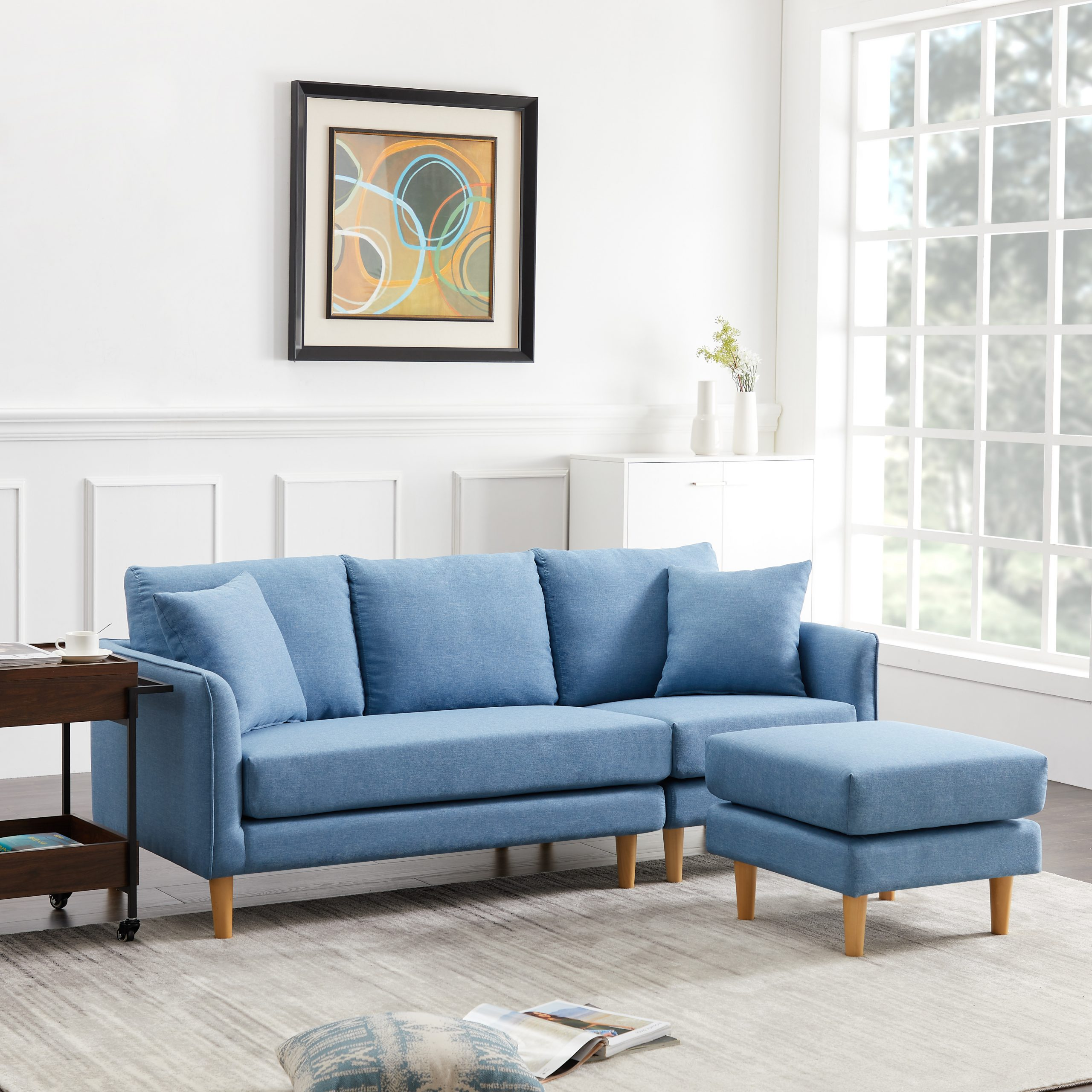 Urhomepro Reversible Sectional Sofa Couch, Modern 3 Seat Inside Dove Mid Century Sectional Sofas Dark Blue (View 14 of 15)