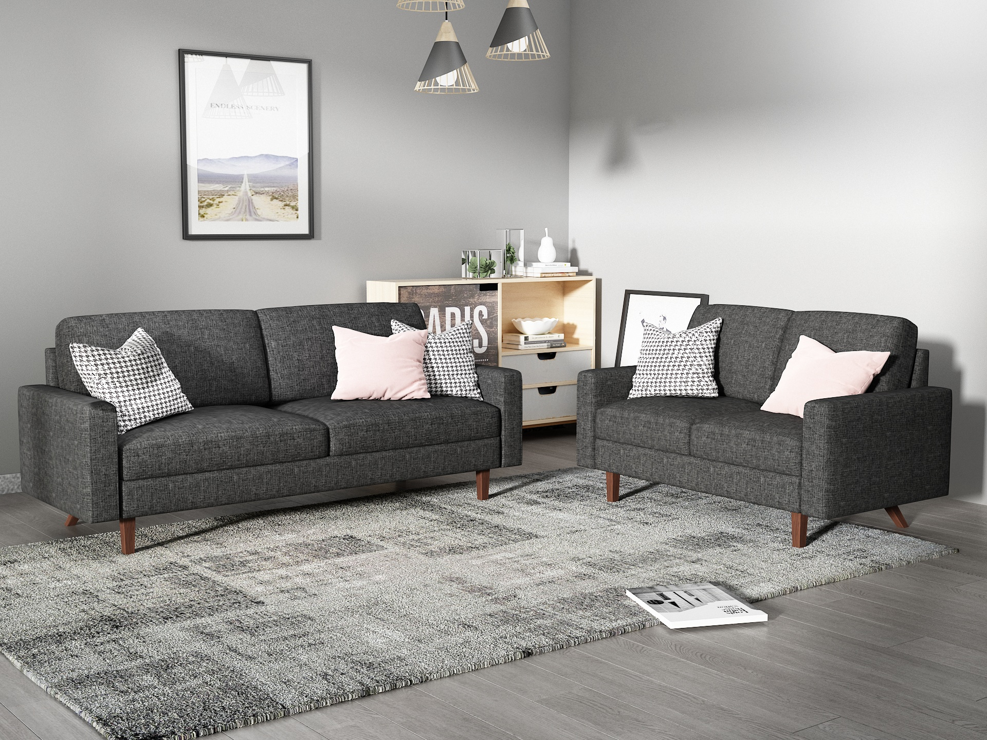 Us Pride Furniture Elvin 2 Piece Linen Fabric Living Room Throughout Sofa With Chairs (View 8 of 15)
