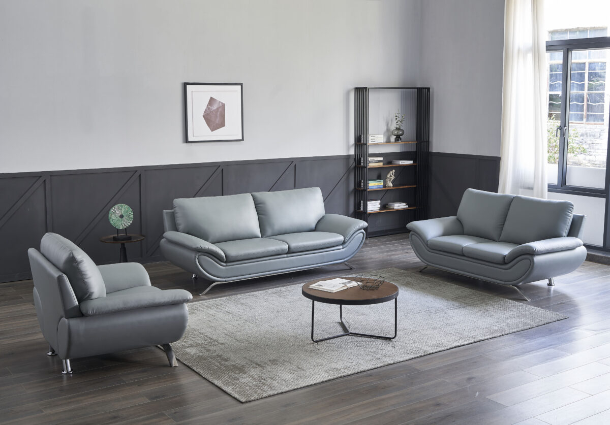 V Dallas Modern Leather Sofa Set (Grey) | Matisseco For Ludovic Contemporary Sofas Light Gray (View 5 of 15)
