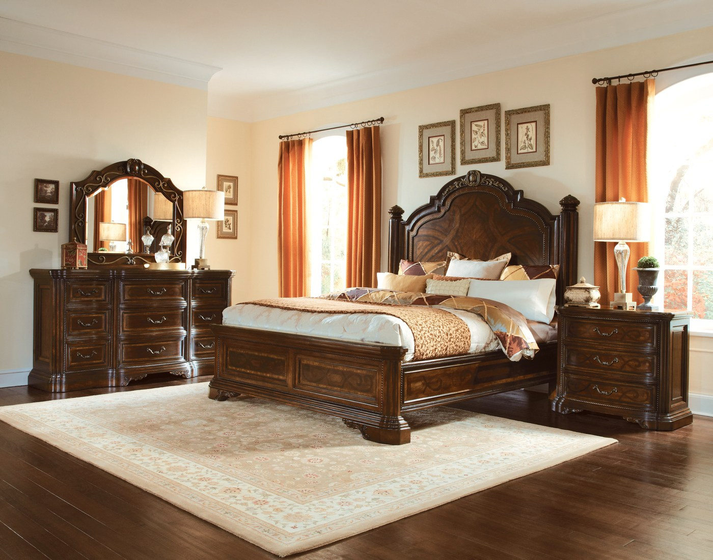 Valencia Carved Wood Traditional Bedroom Furniture Set 209000 Pertaining To Bedroom Sofas And Chairs (View 2 of 15)