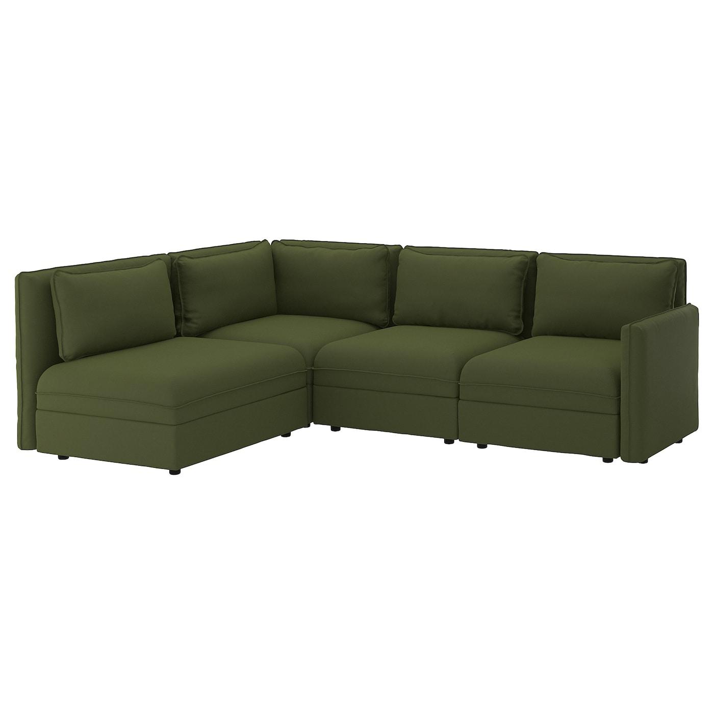 Vallentuna With Storage/Ramna Olive Green, Modular Corner In Modular Corner Sofas (View 4 of 15)