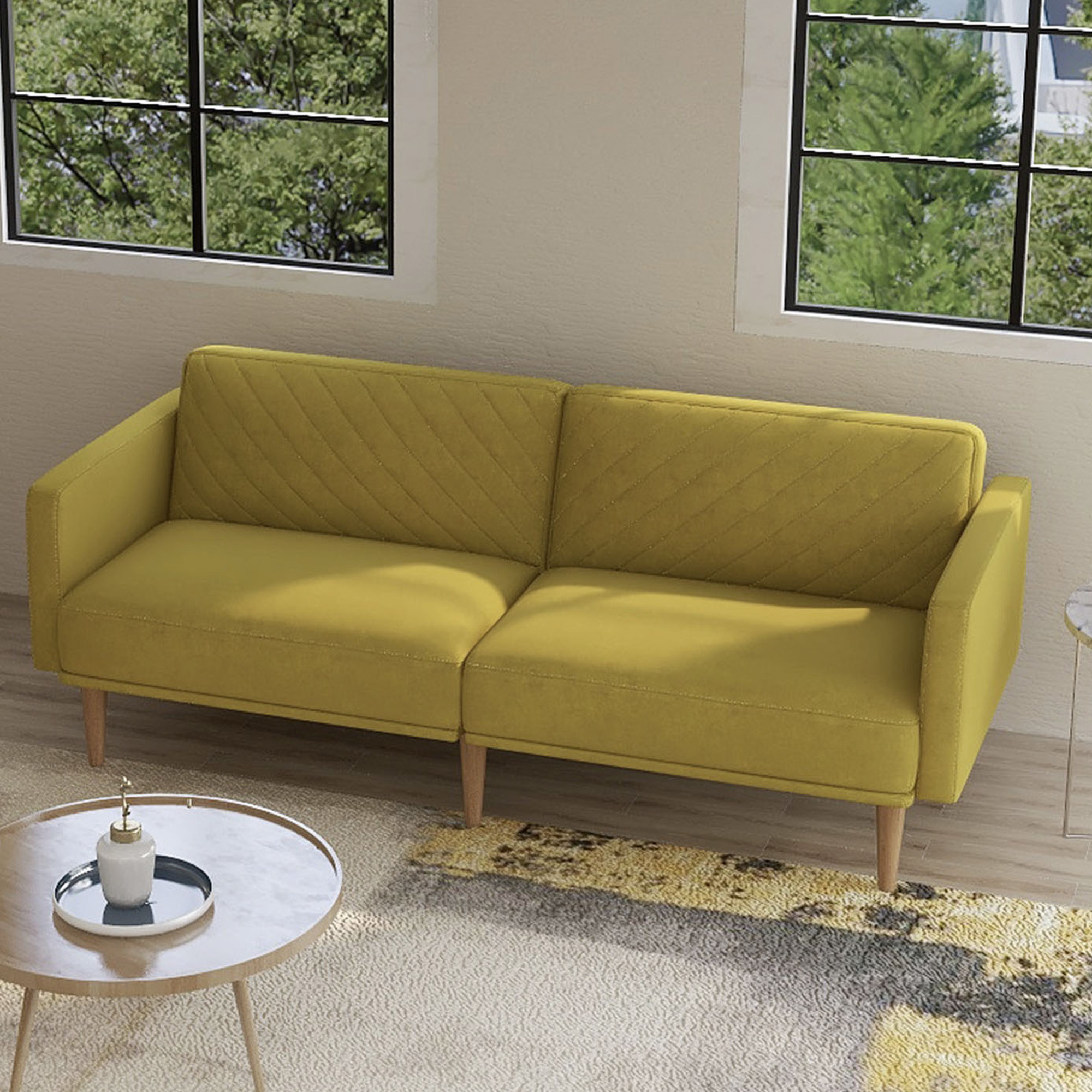 Velvet Fabric Sofa Beds, Urhomepro Mid Century Modern Regarding Mireille Modern And Contemporary Fabric Upholstered Sectional Sofas (View 5 of 15)