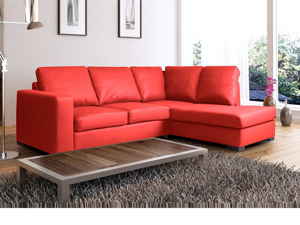 Venice Right Hand Corner Sofa Red Faux Leather W/ Chaise With Regard To Red Sofa Chairs (View 2 of 15)