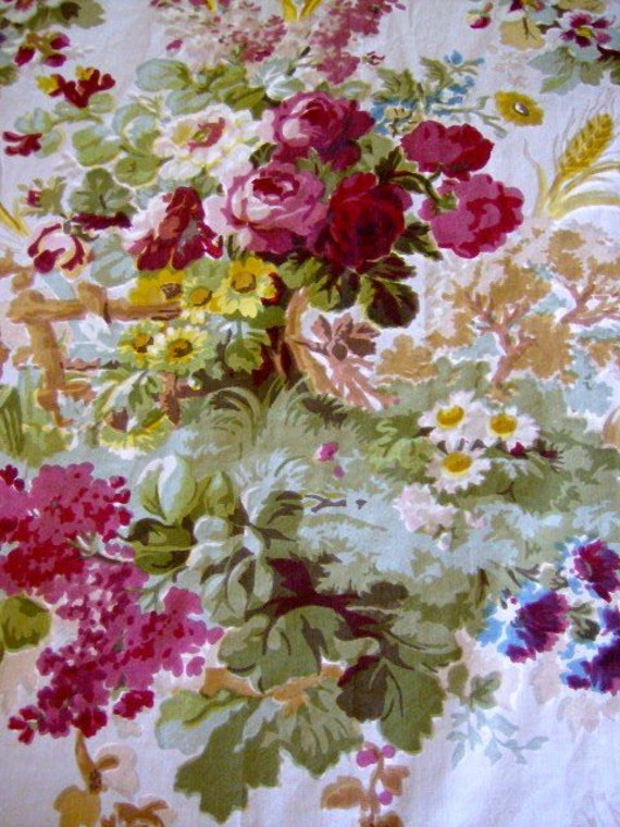 Vintage 1940S Cabbage Rose Chintz Fabric Drapery Upholstery With Regard To Chintz Fabric Sofas (View 5 of 15)