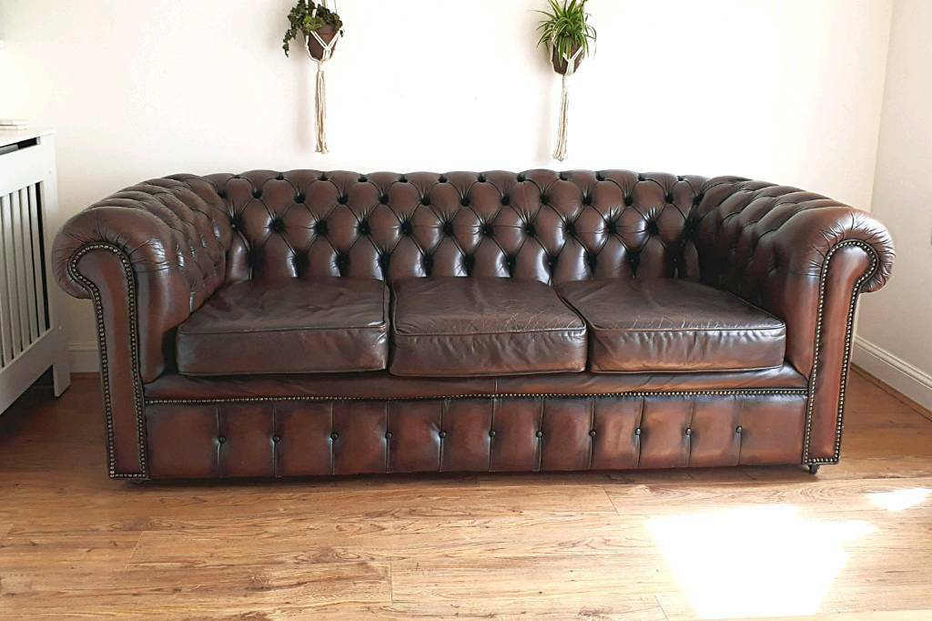 Vintage 1970'S 3 Seater Brown Leather Chesterfield Sofa Regarding Vintage Chesterfield Sofas (View 12 of 15)
