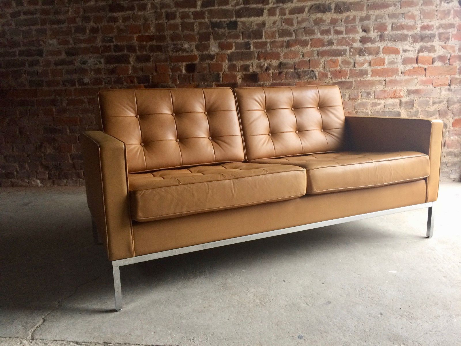 Vintage 2 Seater Leather Sofaflorence Knoll For Knoll Regarding Florence Knoll Leather Sofas (View 2 of 15)