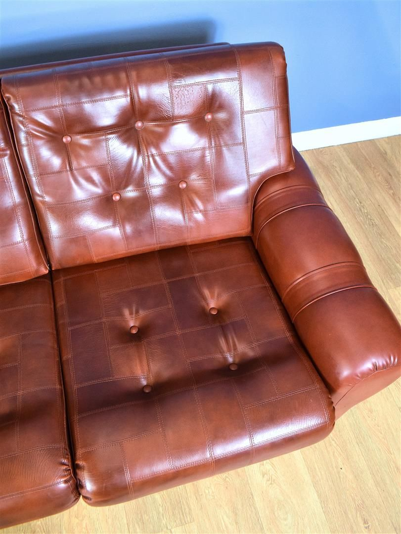 Vintage 3 Seater Sofa In Cognac Brown Faux Leather Danish With Florence Mid Century Modern Right Sectional Sofas Cognac Tan (View 11 of 15)
