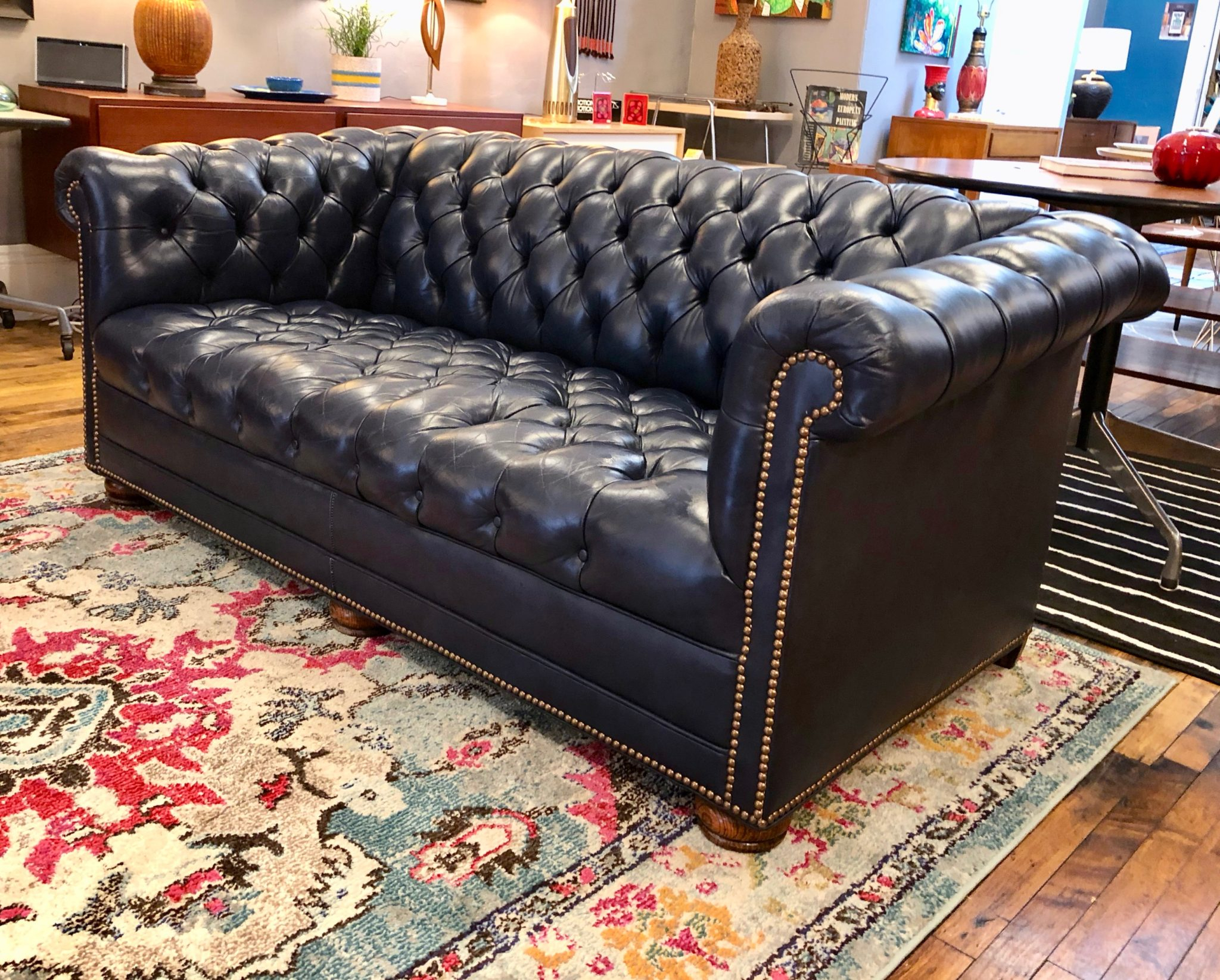 Vintage Chesterfield Sofa In Navy Blue 66″L | Circa With Regard To Vintage Chesterfield Sofas (View 6 of 15)