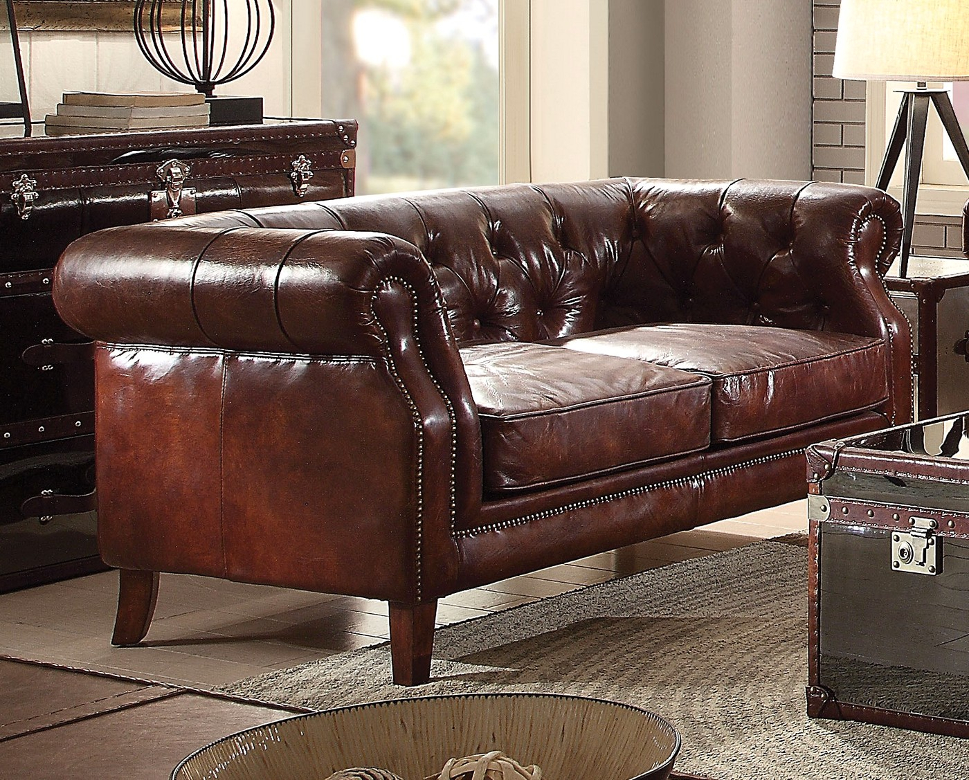 Vintage Chesterfield Sofa & Loveseat | Dark Brown Leather Regarding Chesterfield Sofas And Chairs (View 5 of 15)