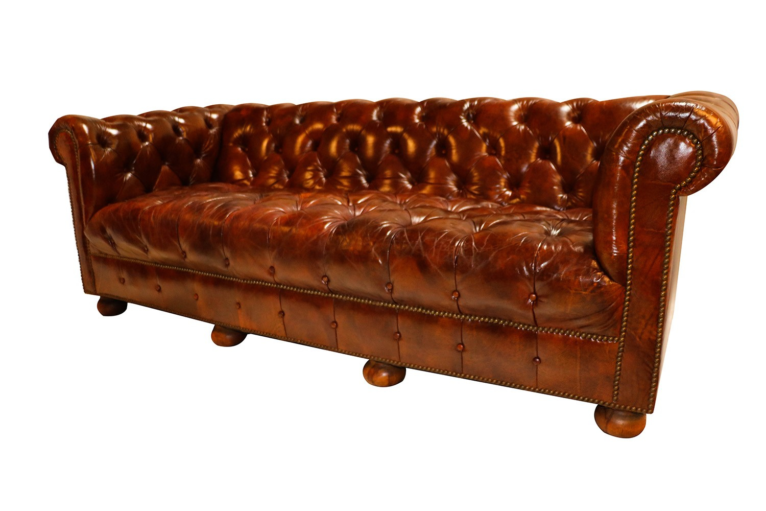 Vintage Chesterfield Style Brown Leather Button Tufted Pertaining To Vintage Chesterfield Sofas (View 10 of 15)