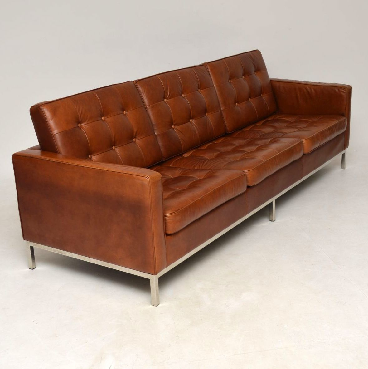 Vintage Florence Knoll Leather & Chrome Sofa | Interior Inside Florence Leather Sofas (View 3 of 15)